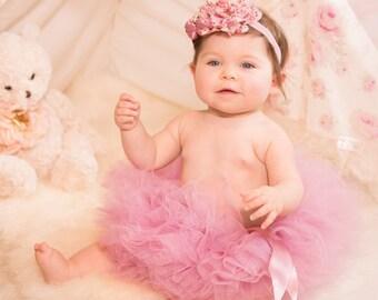 Dusty Pink Baby Tutu, Boutique Mauve Tutu, Infant Tutu, Baby Girls Tutu, Toddler Tutu, Newborn Tutu, Girls Tutu Dress Set, Photo Prop