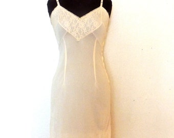 SALE vintage lingerie slip - 1950s ivory satin/lace zip-side bustier negligee