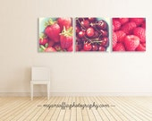 red kitchen decor, food photos, kitchen print set, red wall art, kids room prints, cafe decor, bakery art, cherry, strawberry, foodie gift