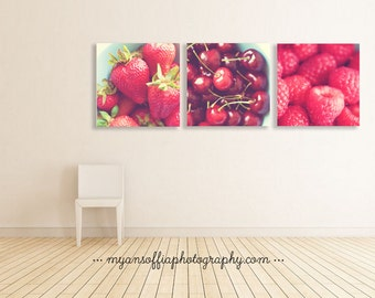 red kitchen decor, kids room wall art, cherry print, strawberry photo, raspberry photograph, kitchen prints, bakers gift, cafe decor