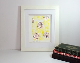 Yellow Floral Art Poster Bright Yellow and dots of orange, purple, and blue, Poster 9x12
