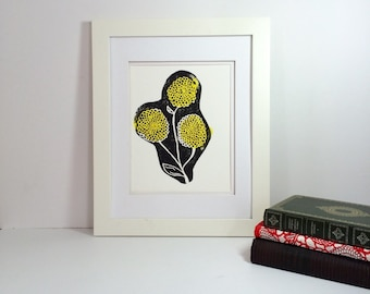 Black and yellow modern flower linocut 9x12 handprinted printmaking