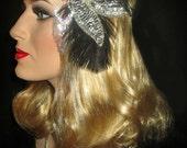 ART DECO DAZZLE- 20s Art Deco, Great Gatsby Headband, Silver Sequin Beaded Flapper Headband, Speakeasy Headband, Old Hollywood Headpiece