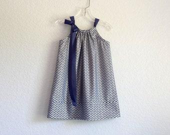 Girls Navy Blue Chevron Stripe Pillowcase Dress - Navy Blue with Metallic Silver Chevron Stripes - Size 12m, 18m, 2T, 3T, 4T, 5, 6, 8 or 10