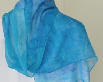 Hand painted silk chiffon scarf blue teal  Canadian design 60x11 scarf