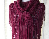 Burgundy RED Hand Knit Shawl Triangle Scarf Fringes in 100% Acrylic / Wine Red shawl / Rosewood Shawl PIN