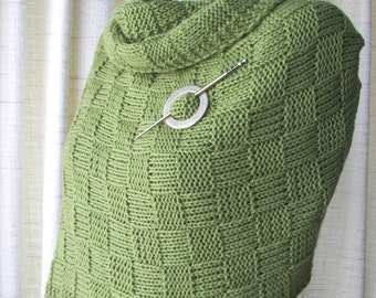 GREEN TEA Hand Knit Wrap Shawl in Merino Cashmere Wool with Pin / Textured Checkerboard knit Shawl / Thoughtful Gift / Wedding