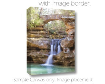 Hocking Hills Photography-Old Mans Cave-Ohio Photography-Waterfall Photograph-Nature Photograph-Canvas Wrap-Teal-Tan-White-Bridge Photograph