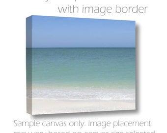 Ocean Photograph Water Sky Fine Art Photography 20x30 Landscape Large Wall Art Canvas Coastal Beach Decor Teal White Blue Living Room Decor