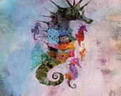 Seahorse print, vintage Brian Wildsmith illustration for child's nursery print