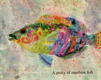 Rainbow Fish print, vintage Brian Wildsmith illustration for child's nursery print
