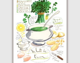 Kitchen art print, Watercress soup recipe print, 8X10 print, Vegetable art print, Green kitchen decor, French kitchen poster, Food art print