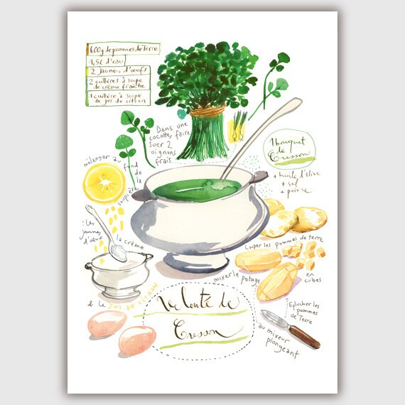 Items Similar To Kitchen Art Print, Watercress Soup Recipe