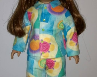 """Colorful floral 70's print flannel pj's  fits 18"""" size like American Girl Doll size type"""