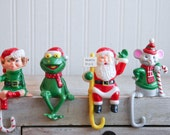 1980s Frog Stocking Holder, Mouse Stocking Hangers, Christmas Mouse, Christmas Frog Kermit, Kitschmas Decor, Small Plastic Mantel Ornaments