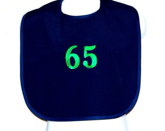 Custom Funny Adult Bib, 65 Birthday Gift, Canvas, Clothing Protector, Personalize With Age, No Shipping Charge, Ready To Ship TODAY AGFT 702