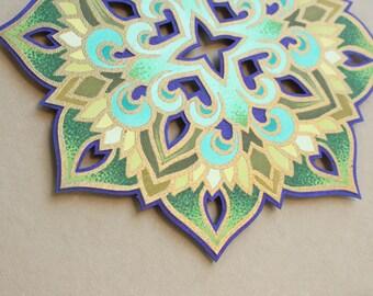 "Mandala ""A Violet for Grandma"" - Illuminated 3-D Paper Sculpture Original Artwork"