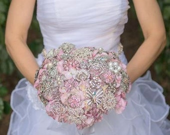 "Ready to Ship! Pink and Silver Brooch Bouquet - Large (10"" wide) - Broach Bouquet - Wedding Bouquet - Bridal Bouquet - Deposit"