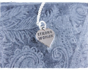 Silver Strong Woman Heart Necklace - Sterling Silver Strong Woman Heart Charm on a Delicate Sterling Silver Cable Chain or Charm Only