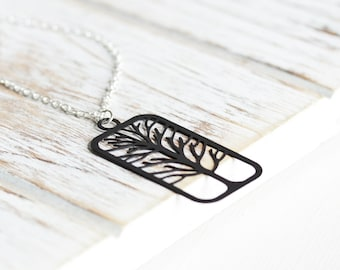Black Tree Necklace - Black Cut Out Tree Pendant Necklace on Silver Plated Chain, Nature Jewelry, Black Pendant, Woodland Fashion Jewelry