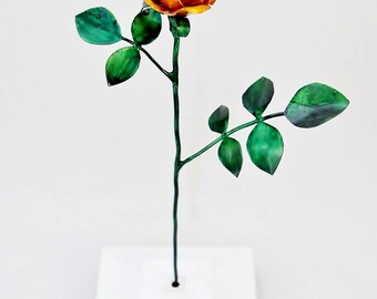 Tiny Yellow  Copper Rose Metal Sculpture
