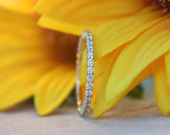 SOLID Gold eternity band 1.5mm width diamond engagement ring wedding band crusted with diamonds,