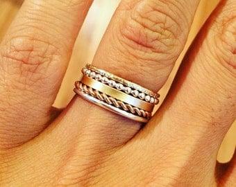 Stacking rings, gold ring, rose gold ring, set of 5, Blue Sunflowers Original