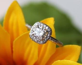 Moissanite halo ring, halo engagement ring, moissanite engagement ring, halo wedding ring, 14K white gold, diamond ring