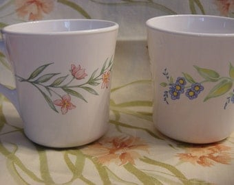 Vintage Corelle My Garden Coffee Cups Mugs / Set of 2 / Pink & Blue Floral / Retro Kitchen Coffee Tea Cups