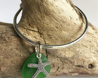 Starfish and Sea Glass Bangle - Seaglass jewelry, Sea Glass jewelry, Sea Glass Bracelet, starfish jewelry, bridesmaid jewelry, beach wedding
