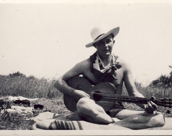 Handsome SHIRTLESS COWBOY Playing His Guitar Photo 1948