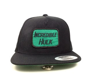 Incredible Hulk Snapback Hat w Vintage Patch Yupoong Classic Black and Green