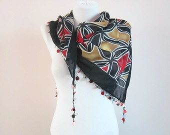 Handmade Traditional Turkish Fabric Scarf, Crochet Oya, Oya  Scarves, Bandana Headband, Boho Scarf, Women  Shawl, Yemeni, Black Yellow Red