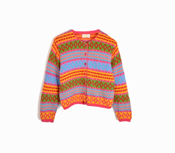 Vintage 90s Print Cardigan Sweater in Bright Multi-color - women's medium/large