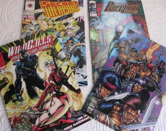 4 Assorted Comic Books - Wildcats, Secret Weapons, Backlash, Wetworks - Vintage 1990s