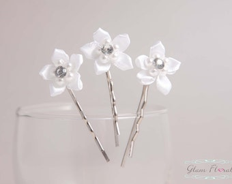 Set of 3 White Stephanotis Bobby Pins, with Rhinestone & Pearl Centers
