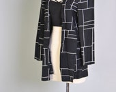 Vintage Jacket 80s Black Blazer Wide Checkered Jacket Black Minimalist Checked Coat S M