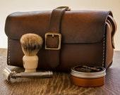 Men's Leather Toiletry Kit, Leather Toiletry Kit, Dopp Kit, Travel Kit, Leather Travel Case, Shave Bag