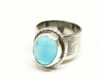 Blue Turquoise Ring in Sterling Silver Statement Ring Size 6.5