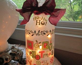 Christmas Wine Bottle Lamp, Christmas, Christmas lights, christmas wine bottles, christmas bottles, wine bottle lights, wine bottla lamps,