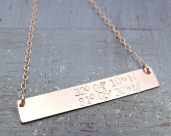 14kt Gold Filled Custom Latitude Longitude Bar Necklace. Hand Stamped Jewelry. Minimalist, Engraved Necklace. Layering Bar Necklace, Beachy
