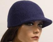 Felted baseball cap blue black Felt hats millinery hat sport elegant wool Regina Doseth handmade Lithuania EU
