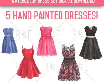 Watercolor Dresses Illustrations - Digital Download, Clip Art, Fashion
