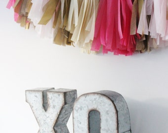 Sale 6 large metal letter zinc steel initial home room for Silver letters freestanding