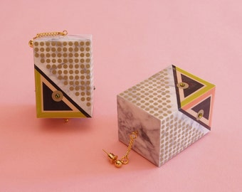 "Geometric Earrings // Marble Earrings // Mod Earrings // Oversized Earrings // Op Art Earrings // Art Deco Earrings// The ""Rudi"""