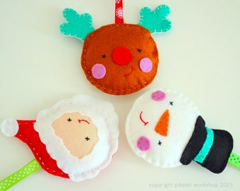 Felt Christmas Decorations, Handmade Xmas Decorations, Christmas Felt Ornaments, Rudolf Ornament, Frosty Ornament, Santa Ornament