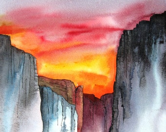 Canyon Sunset - Original Watercolor Painting