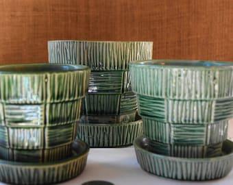 3 Vintage MCCOY POTTERY Basket Weave Planter Pots Herb Pots McCoy Ceramic Pottery American Mid Century Banded Art McCoy USA Rich Green Pots