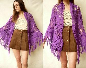 1970's Vintage Hand Knitted Crochet Tassel Scarf Shawl