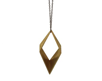 X-Large Rhombus Three Dimensional Pendant ,Vintage Cut Brass ,Geometric Modern Necklace, Diamond Shaped